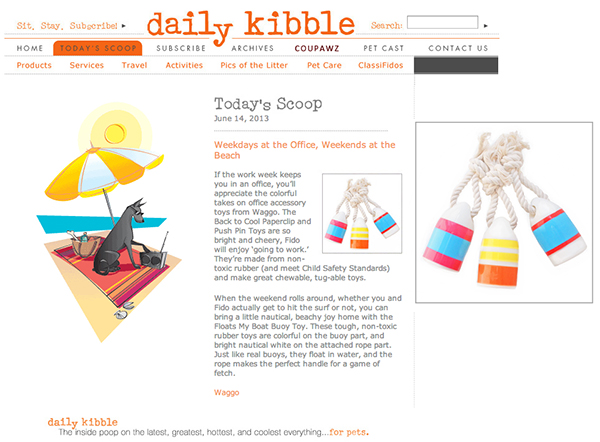 DailyKibble.om June 2013 Nautical Orange Rubber Dog Toy
