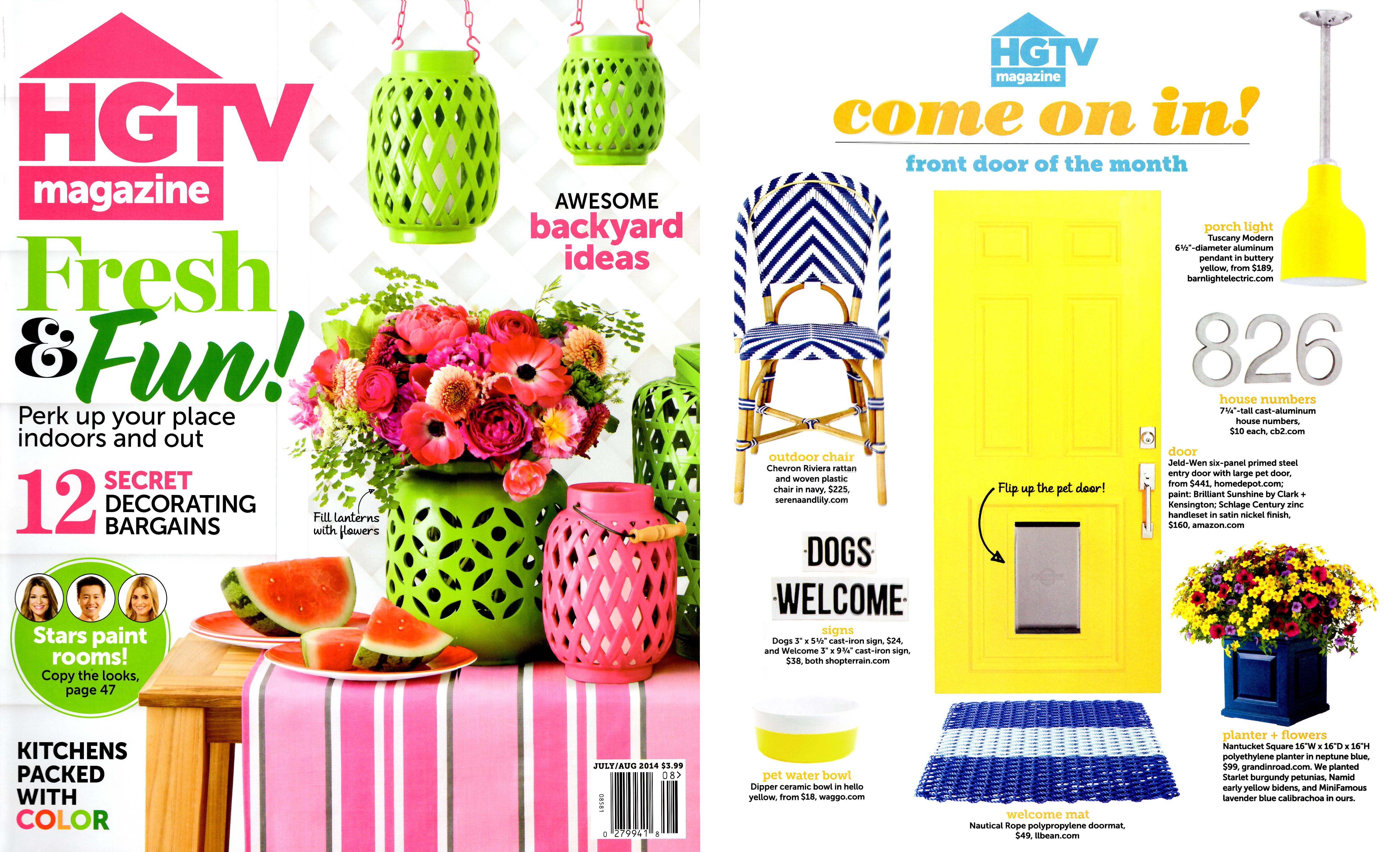 HGTV Magazine July 2014 Durable Washable Ceramic Dog Dish