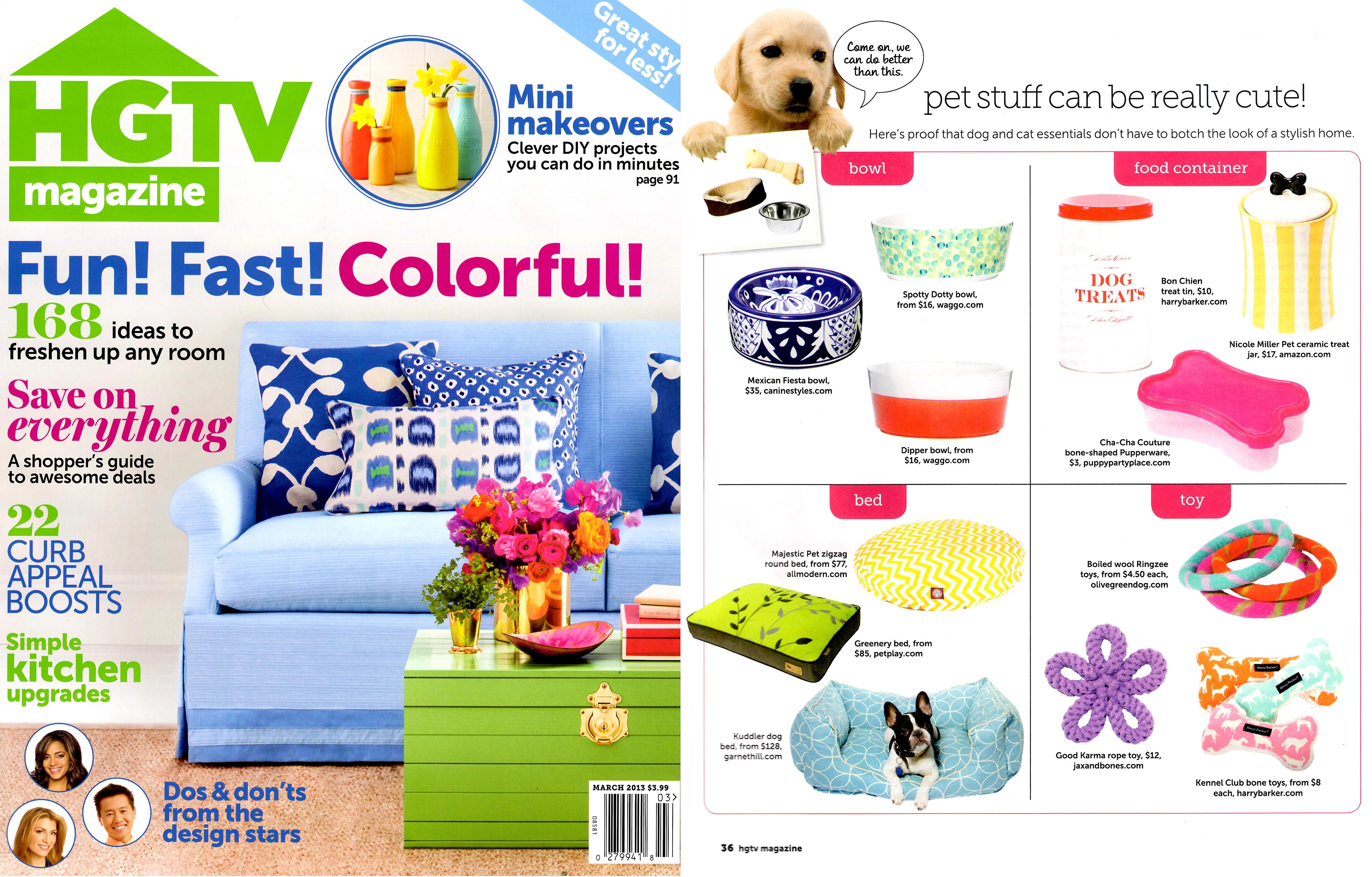HGTV Magazine March 2013 Waggo Dishwasher Safe Dog Bowls