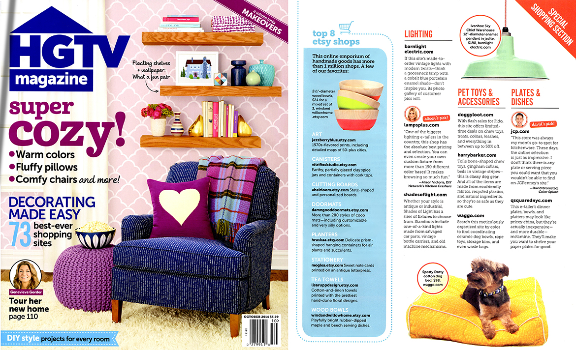 HGTV Magazine October 2014 Washable Yellow Dog Bed
