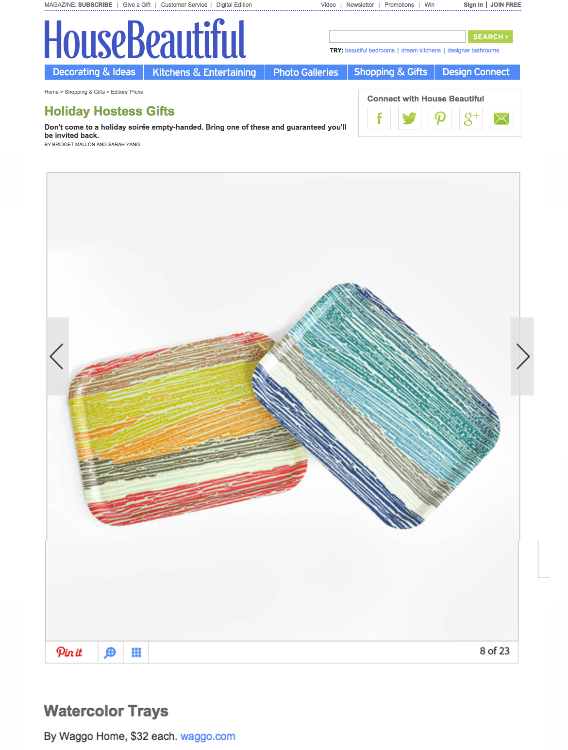 House Beautiful November 2014 Designer Watercolor Wooden Trays
