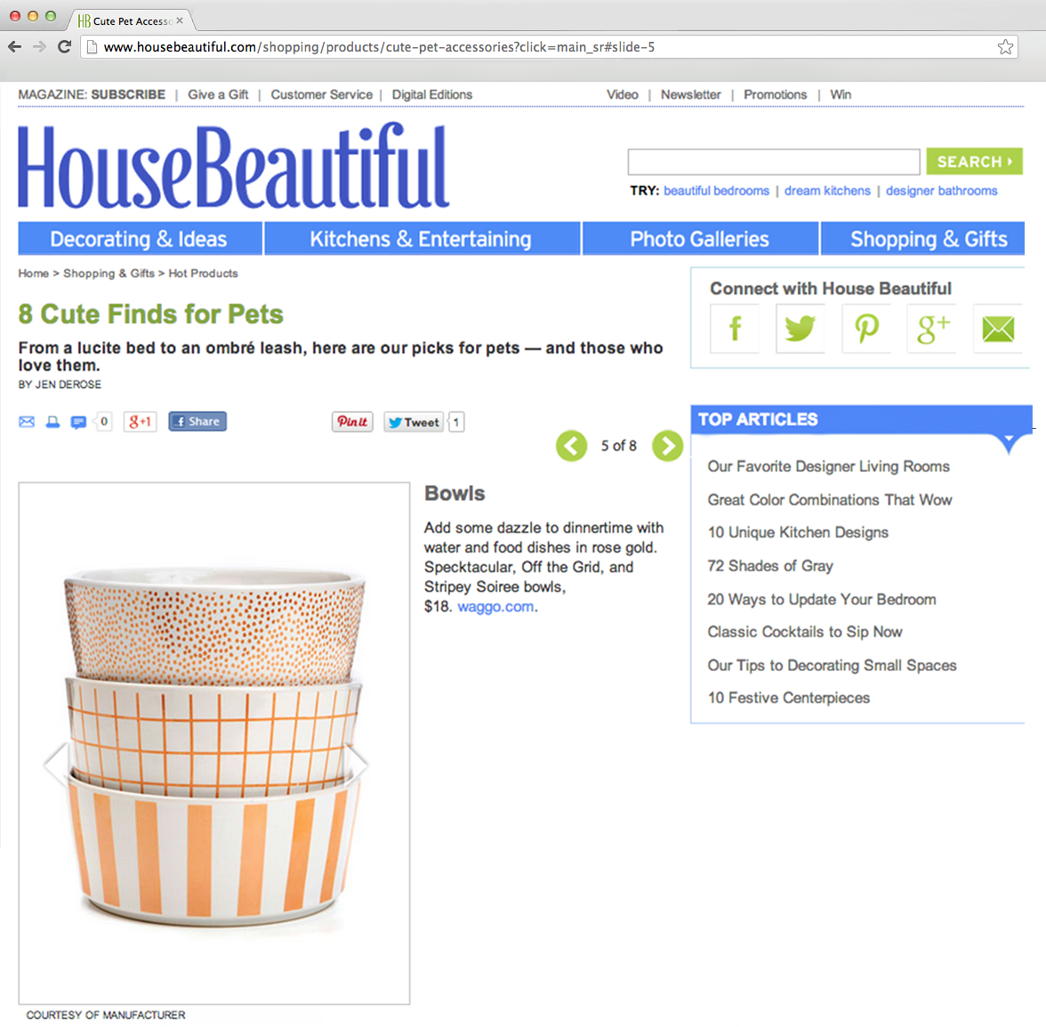 House Beautiful October 2013 Gold Patterned Dog Bowls
