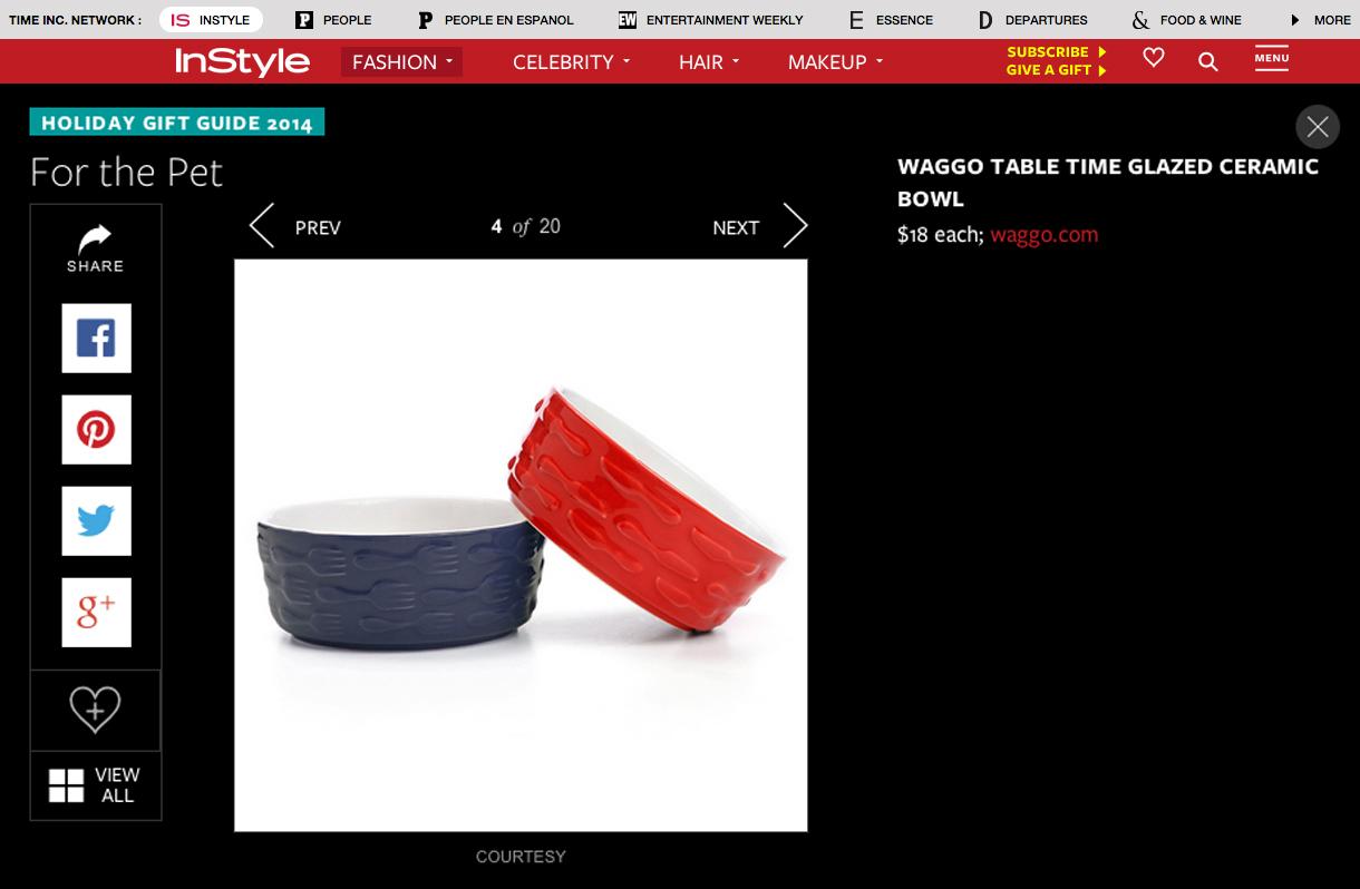 InStyle.com December 2014 Pet Gift Fork Knife Dog Bowl