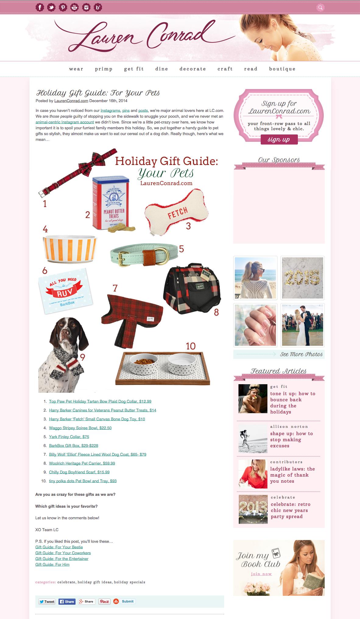LaurenConrad.Com December 2014 Designer Metallic Striped Dog Bowl