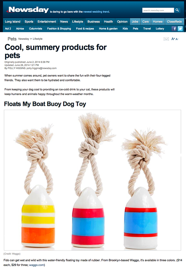 Newsday July 2014 Nautical Buoy Dog Chew Toys