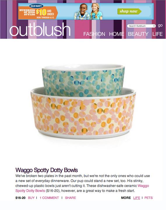 Outblush.com December 2012 Waggo Dishwasher Safe Ceramic Polka Dot Dog Bowls