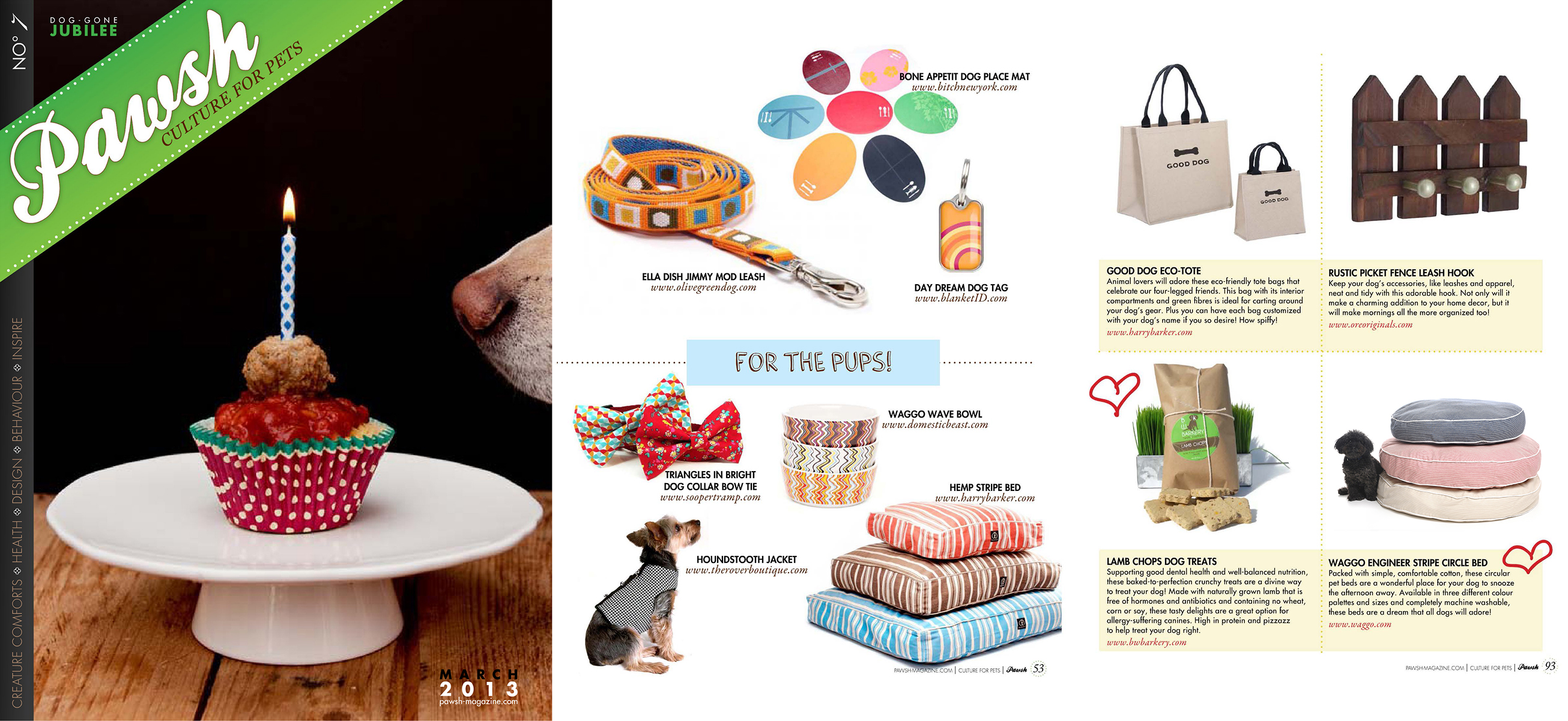 Pawsh Magazine March 2013 Waggo Engineer Striped Dog Beds
