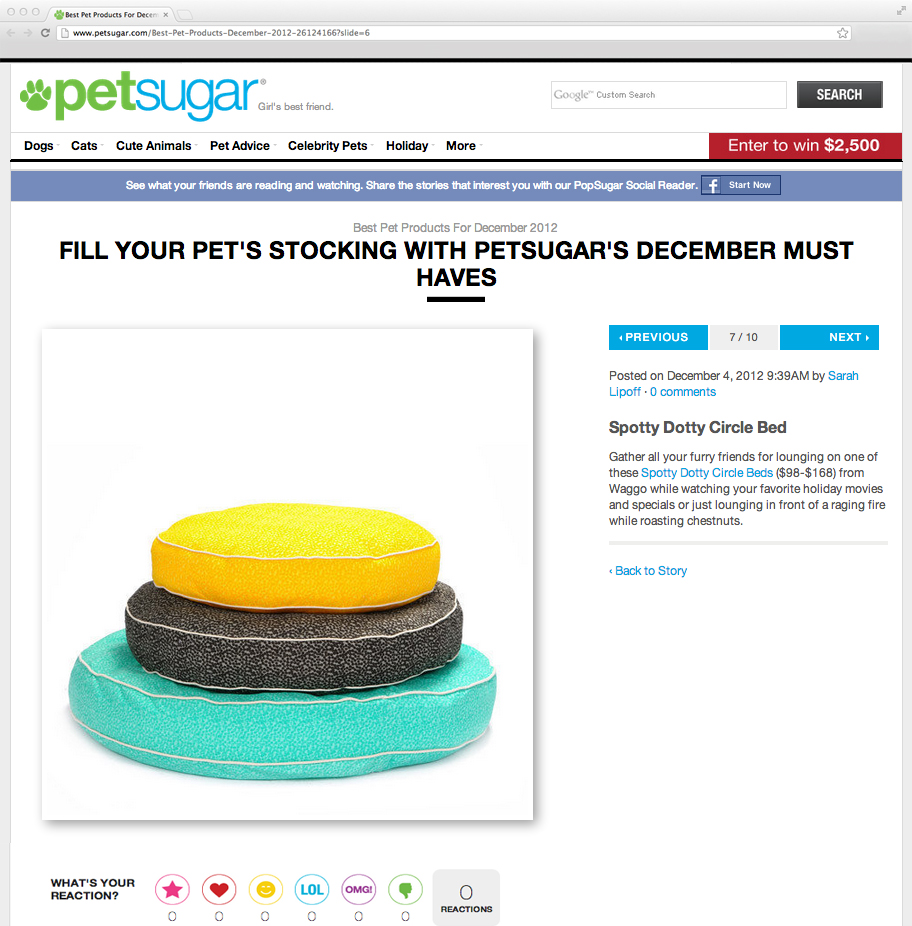 PetSugar.com December 2012 Cotton Polka Dot Dog Beds