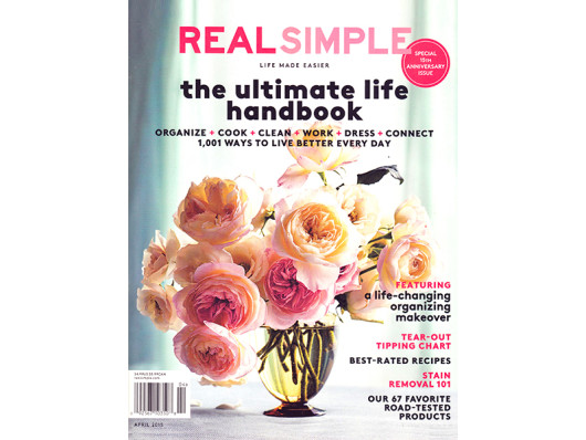 Real Simple April 2015 Ceramic Dog Bowls and Striped Tea Towels