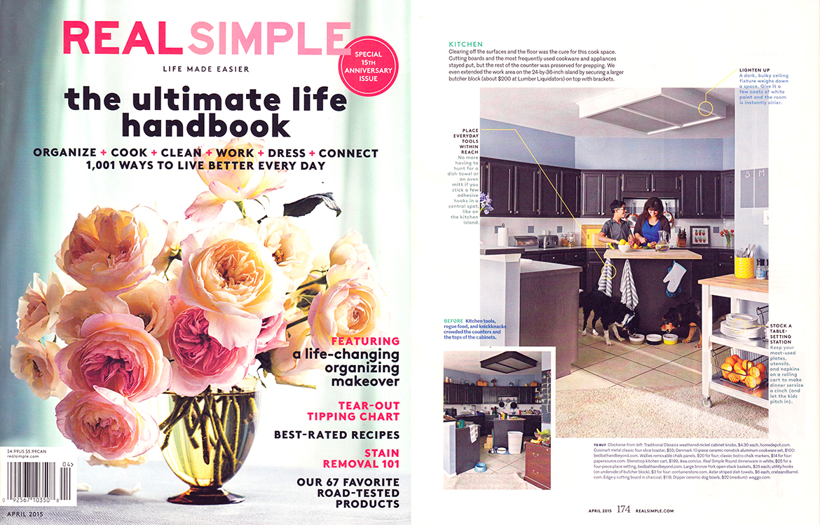 Real Simple April 2015 Modern Dipped Dog Bowls and Graphic Dish Towels