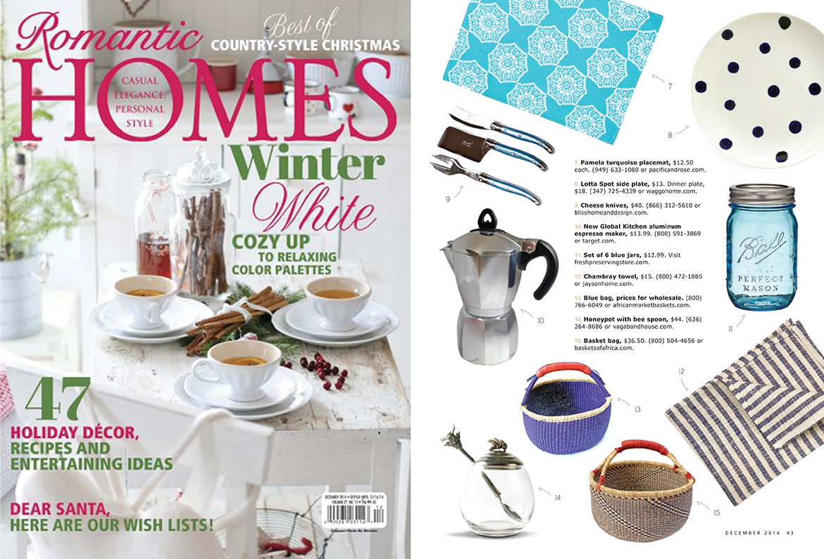 Romantic Homes December 2014 Waggo Hand Painted Polka Dot Dinner Plate