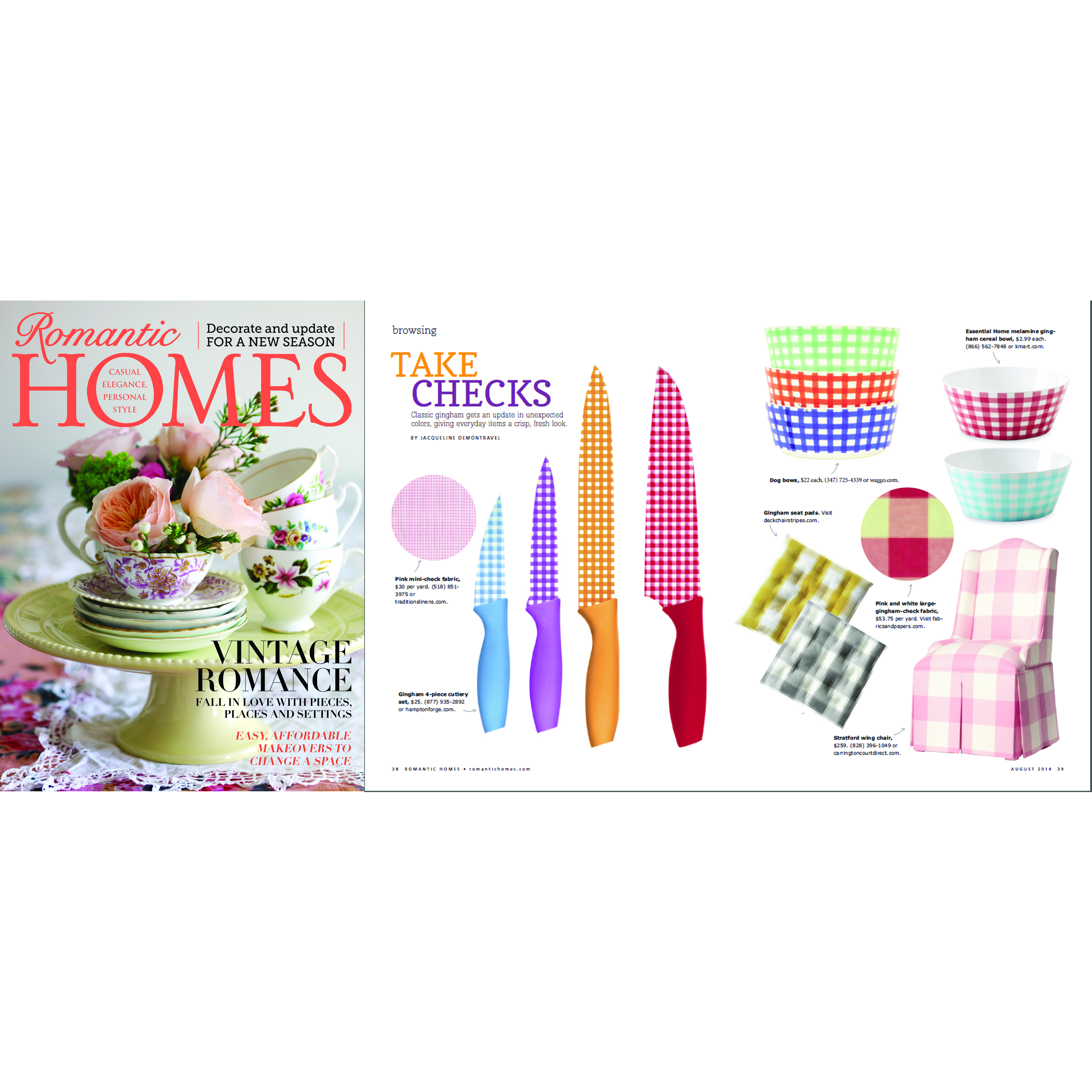 Romantic Homes August 2014 Designer Gingham Ceramic Dog Bowls
