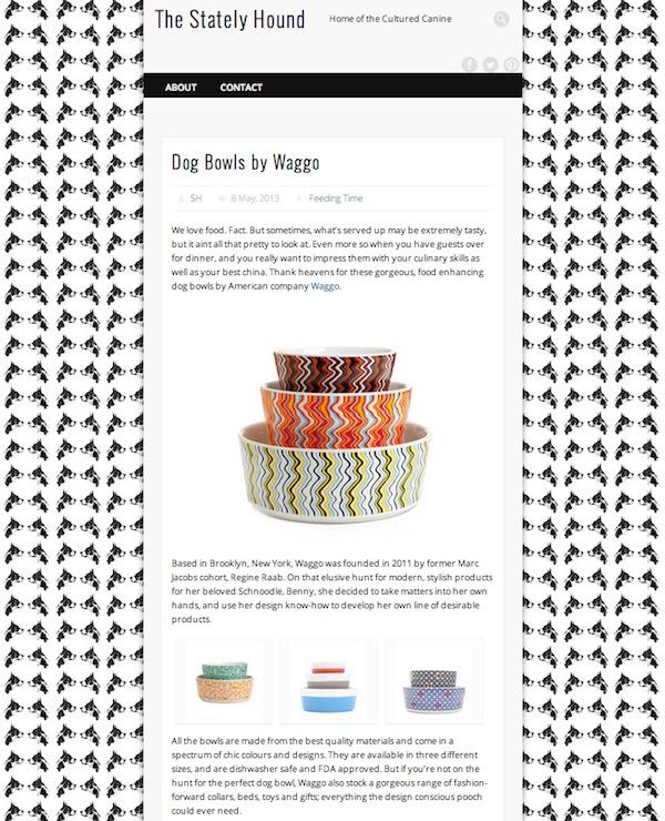 TheStatelyHound.com May 2013  Waggo Ceramic Wave Dog Dish