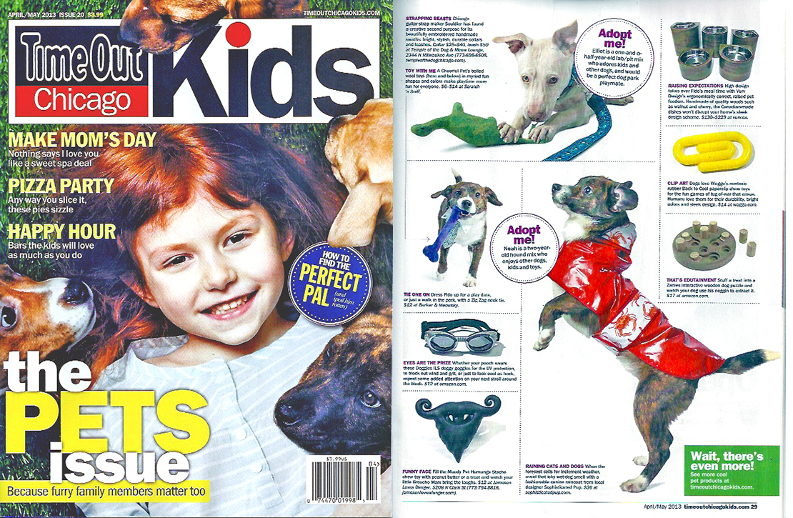 Timeout Chicago Kids Magazine  April 2013 Waggo Back to Cool Dog Toy