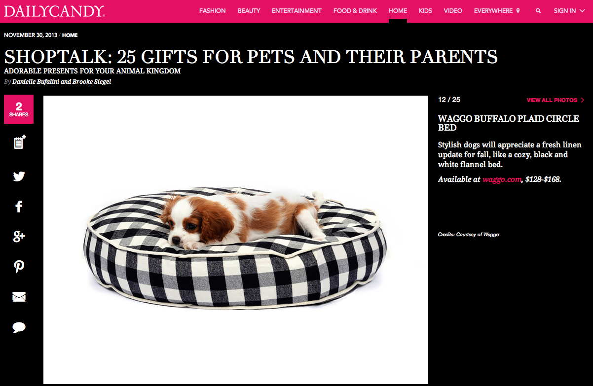 DailyCandy.com December 2013 Best Buffalo Plaid Dog Bed