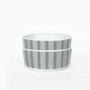 Chevron Stripe Ceramic Dog Bowl