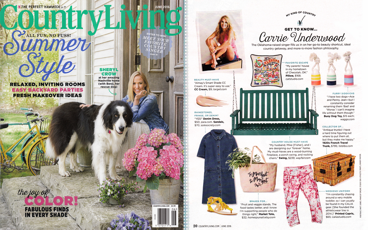 Country Living - June 2016 - features our nautical dog toy, the Float My Boat Buoy.