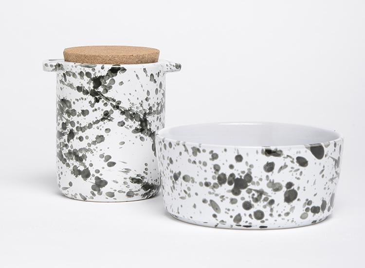 Splash Ceramic Dog Bowl and Treat Jar