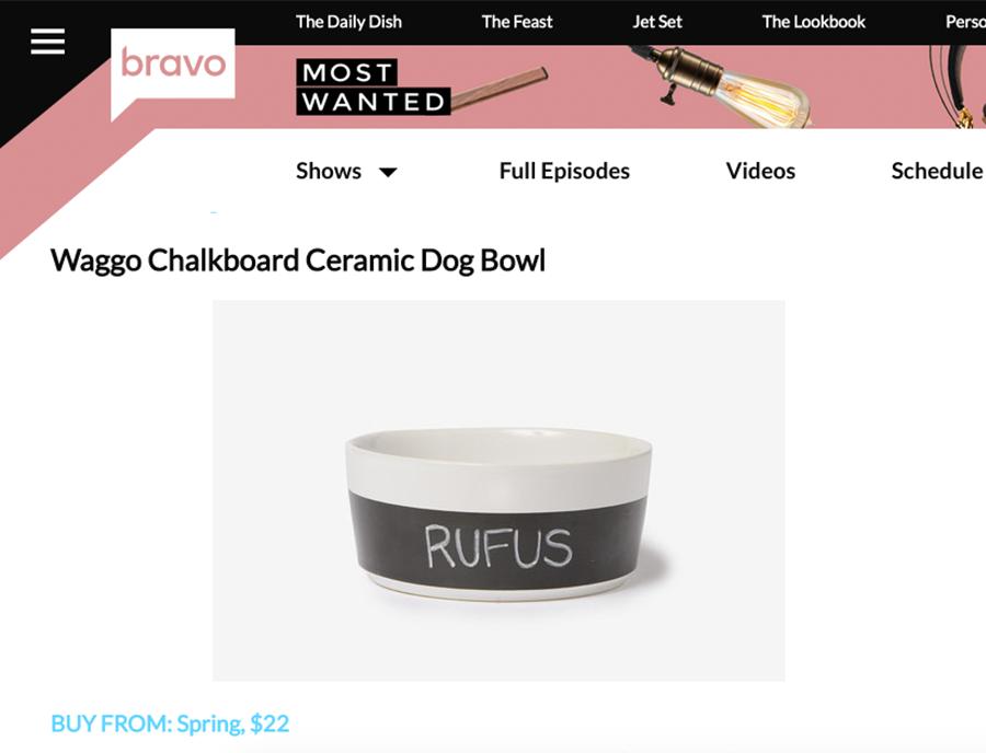 Waggo Dipper Chalkboard Ceramic Dog Bowl